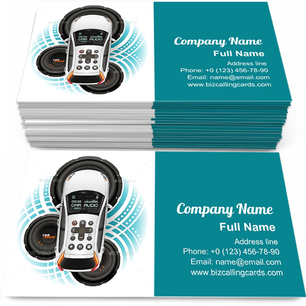 Sample of Car Audio System calling card design for advertisements marketing ideas and promote Car sound system branding identity