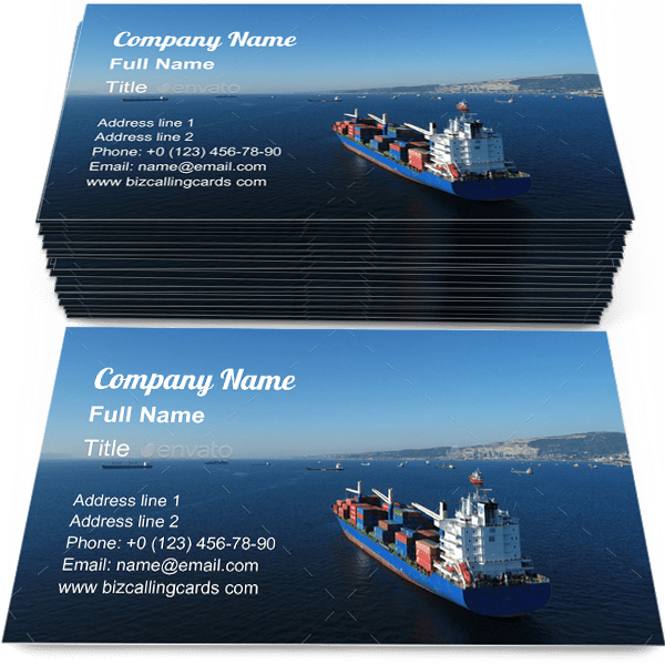 Sample of Cargo Ship Sailing calling card design for advertisements marketing ideas and promote export import branding identity