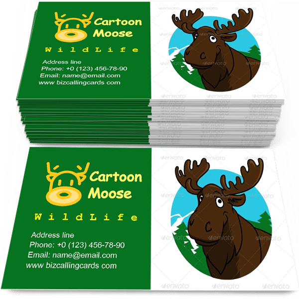 Sample of Cartoon Moose or Elk calling card design for advertisements marketing ideas and promote wild life branding identity