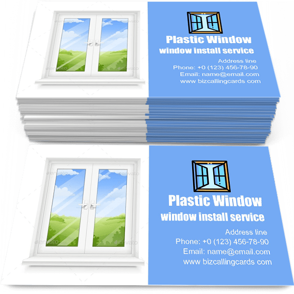 Sample of Classic Plastic Window calling card design for advertisements marketing ideas and promote window install service branding identity