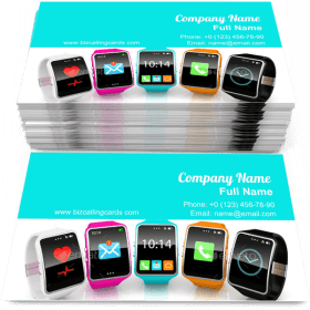 Colorful smart watchs Business Card Template