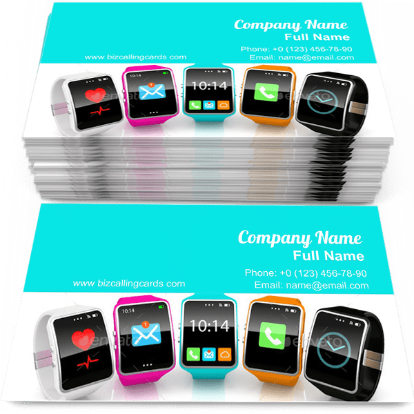 Sample of Colorful smart watchs calling card design for advertisements marketing ideas and promote pda branding identity