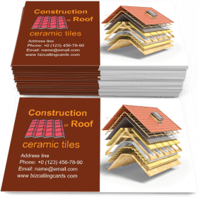 Construction of roof Business Card Template