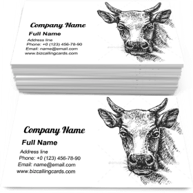 Cow Head Sketch Business Card Template