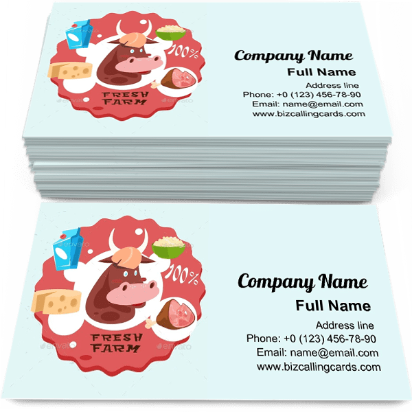 Sample of Cow Milk Meat Products calling card design for advertisements marketing ideas and promote agriculture branding identity