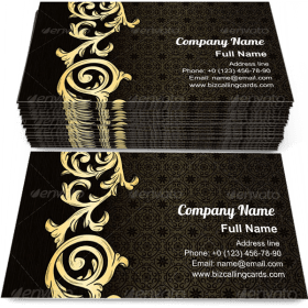 Damask golden ornament Business Card Template