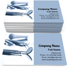 Dentists tools on mirror Business Card Template