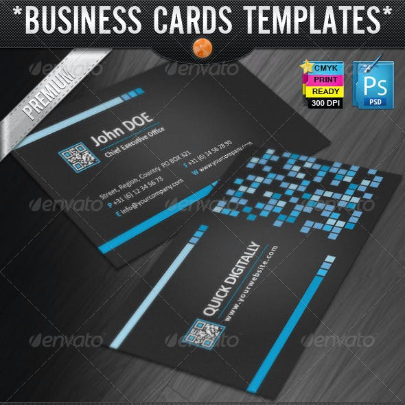 Digitally Quick Response Business Cards Designs Free Download