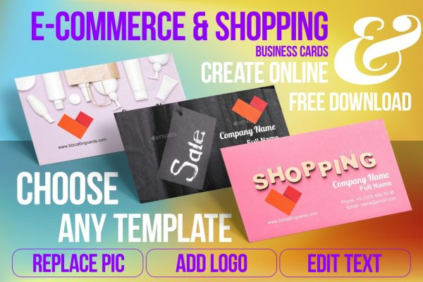 E-Commerce & Shoping Business Card Samples For Create Custome Design