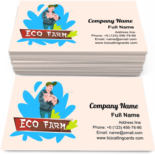 Sample of Eco Farm Farmer calling card design for advertisements marketing ideas and promote agribusiness activities branding identity