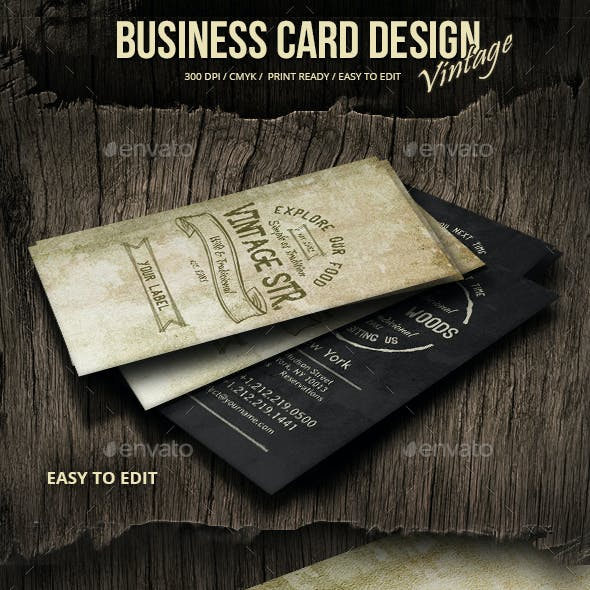 Extraordinary Vintage Grunge Business Card Design Free Download