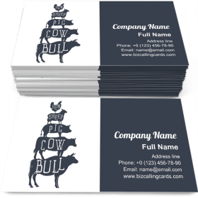 Farm animals silhouette Business Card Template