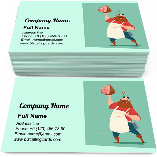 Sample of Farmer Hold Pig Leg calling card design for advertisements marketing ideas and promote Animal Farm store branding identity