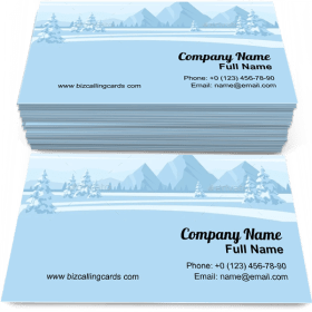 Fir-trees and mountain Business Card Template