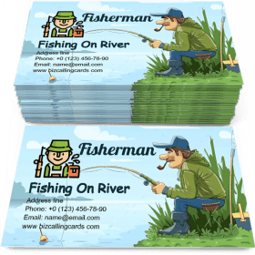 Fisherman with Rod Fishing on River Business Card Template