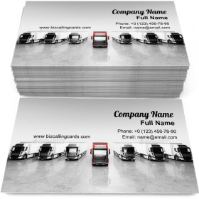 Fleet of trucks with cargo trailers Business Card Template