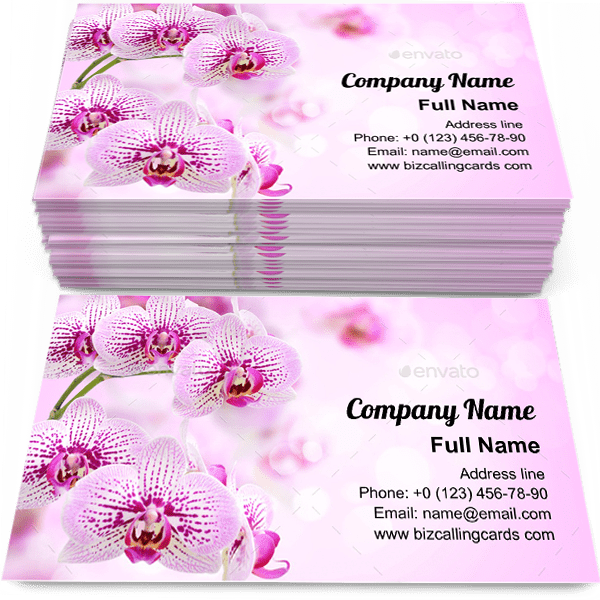 Sample of Floral of tropical orchids calling card design for advertisements marketing ideas and promote romantic branding identity