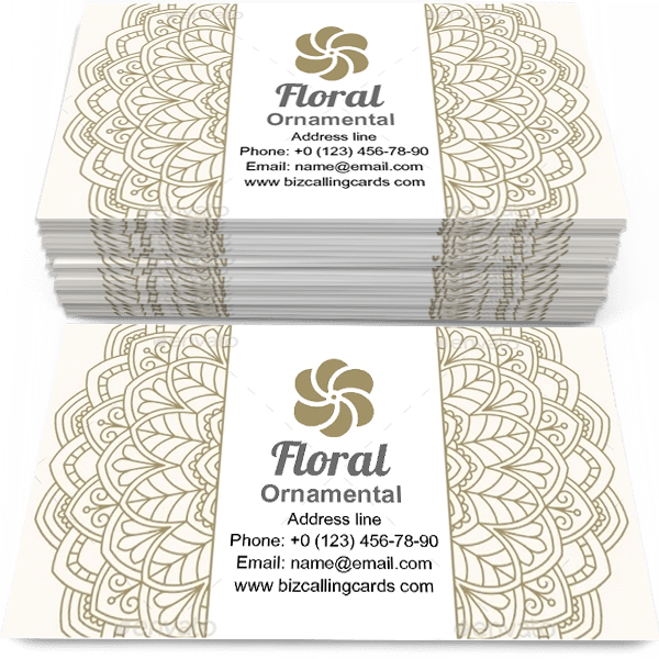 Sample of Floral ornamental Pattern calling card design for advertisements marketing ideas and promote antique style branding identity