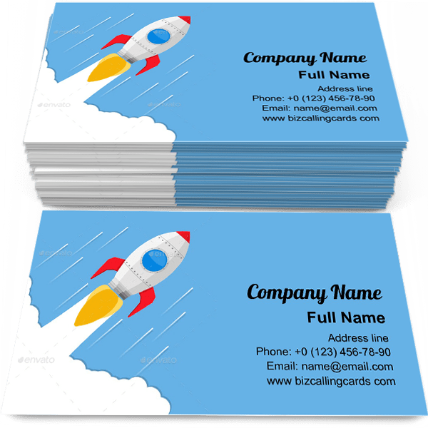Sample of Flying rocket calling card design for advertisements marketing ideas and promote spaceship branding identity