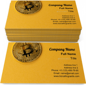 Gold bitcoin cryptocurrency Business Card Template