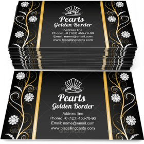 Golden Border with Pearls Business Card Template