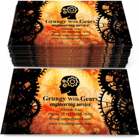 Grungy with gears Business Card Template