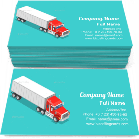 Isometric Cargo Truck Business Card Template