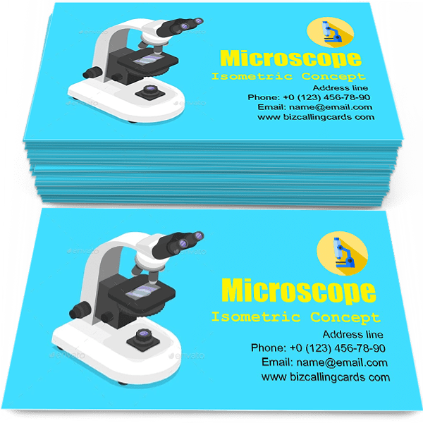 Sample of Isometric concept of microscope calling card design for advertisements marketing ideas and promote microbiology service branding identity