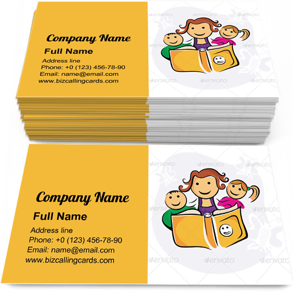 Sample of Kids Enjoying Study calling card design for advertisements marketing ideas and promote Children education branding identity