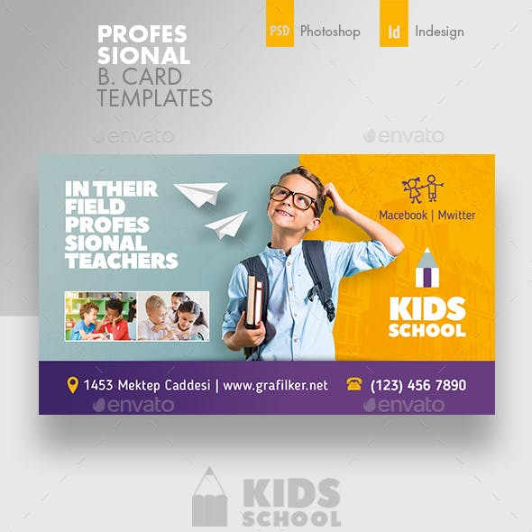 Kids School Business Card Templates Free Download