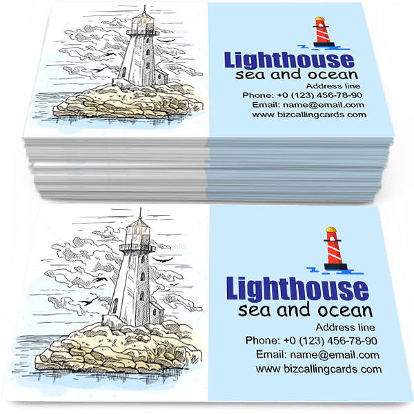 Sample of Lighthouse Building calling card design for advertisements marketing ideas and promote sea and ocean theme branding identity