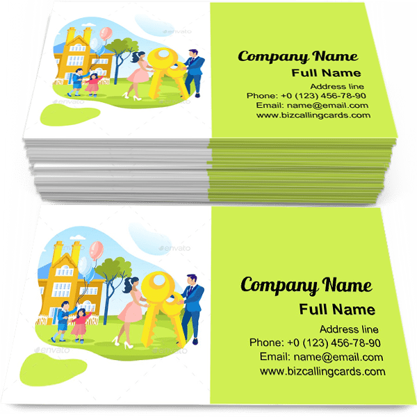 Sample of Loan Mortgage for Family calling card design for advertisements marketing ideas and promote Real Estate branding identity