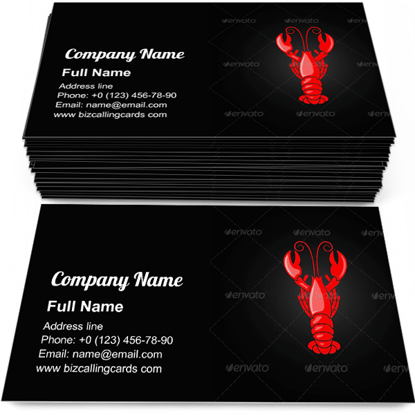Sample of Lobster seafood menu calling card design for advertisements marketing ideas and promote shellfish restaurant store branding identity