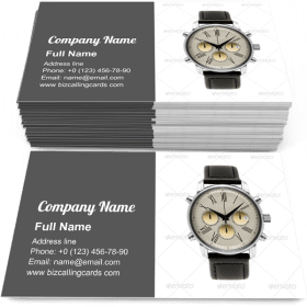 Luxury silver man watch Business Card Template