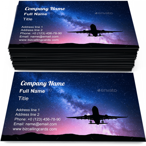 Sample of Milky Way and airplane calling card design for advertisements marketing ideas and promote Aircraft branding identity