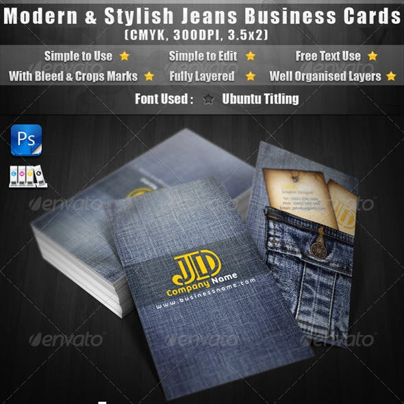 Modern & Stylish Jeans Business Cards Free Download