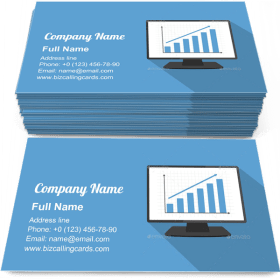 Monitor with Bar Graph Business Card Template