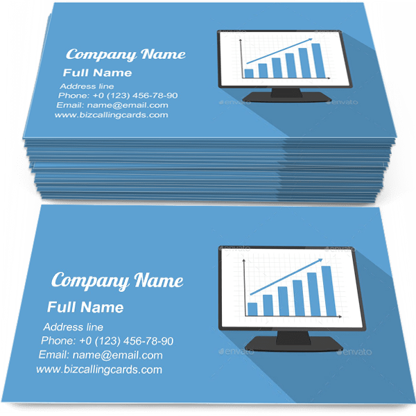 Sample of Monitor with Bar Graph calling card design for advertisements marketing ideas and promote financial analytics branding identity