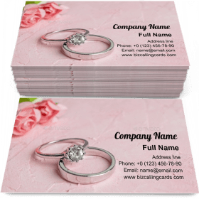 Pair of Silver Wedding Rings Business Card Template