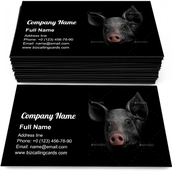 Sample of Pig Head on a Black calling card design for advertisements marketing ideas and promote farm shop branding identity