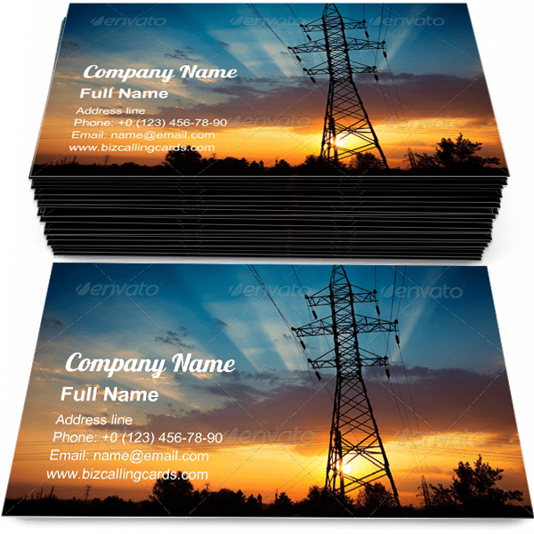 Sample of Power lines on a sunrise calling card design for advertisements marketing ideas and promote electrical generation branding identity