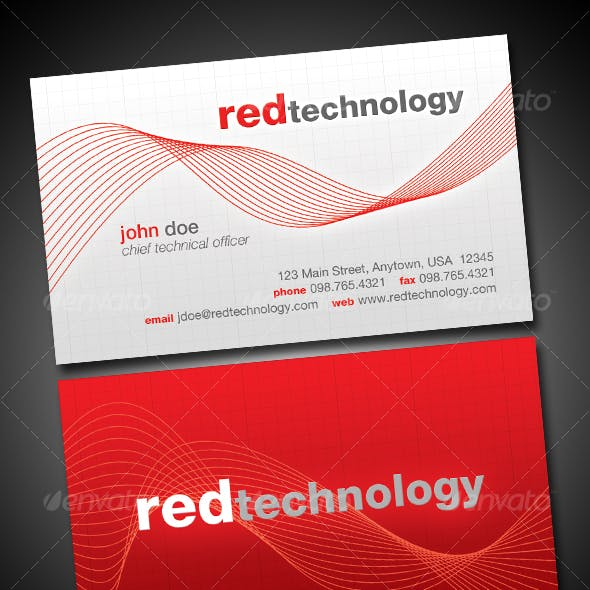 Red Color of Business Cards