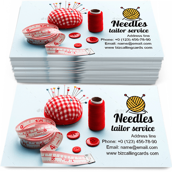 Sample of Red pillow with needles calling card design for advertisements marketing ideas and promote tailor service branding identity