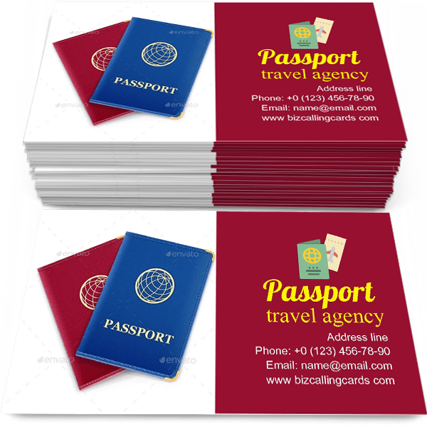 Sample of Red and Blue Passport calling card design for advertisements marketing ideas and promote travel agency branding identity