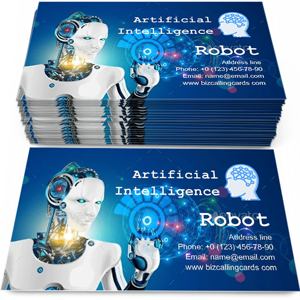 Sample of Robot with Artificial Intelligence calling card design for advertisements marketing ideas and promote Future science concept, Industrial revolution branding identity
