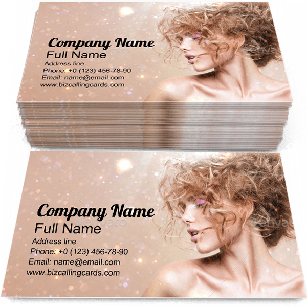 Sample of Fashion Model calling card design for advertisements marketing ideas and promote hairstyle branding identity