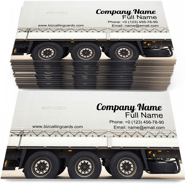 Sample of Truck Trailer calling card design for advertisements marketing ideas and promote Cargo branding identity