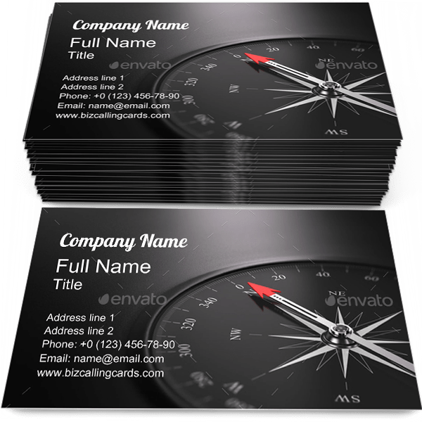 Sample of Compass calling card design for advertisements marketing ideas and promote North branding identity