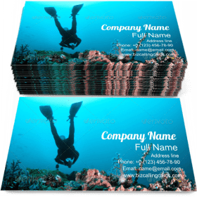 Diver Swimming Reef Business Card Template