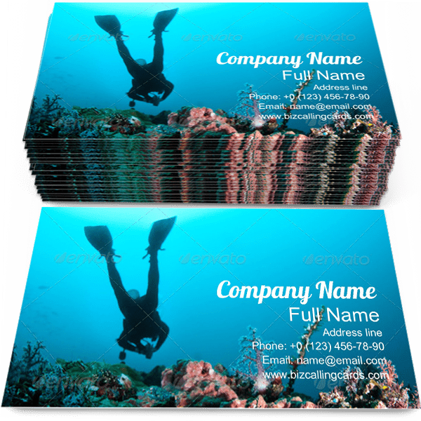 Sample of Diver calling card design for advertisements marketing ideas and promote Swimming branding identity